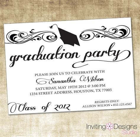 graduation invitation card template word free graduation invitation templates free graduation