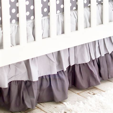 Gray Crib Skirt by Gray Ruffled Crib Skirt Gray Ombre Crib Skirt Gray