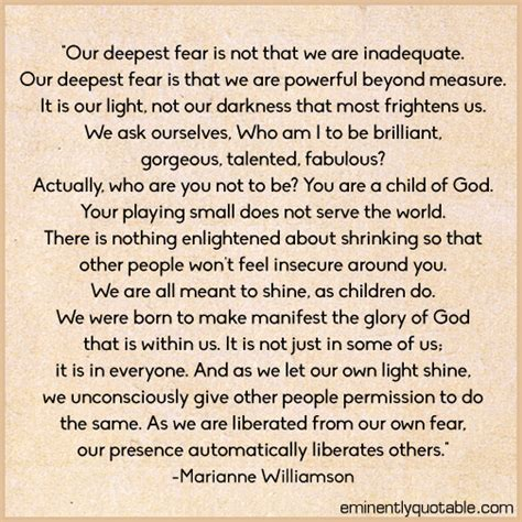 marianne williamson quotes our deepest fear is not that we are inadequate 248