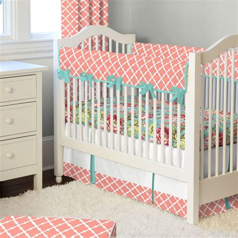 coral and teal comforter light coral and teal lattice crib bedding carousel designs