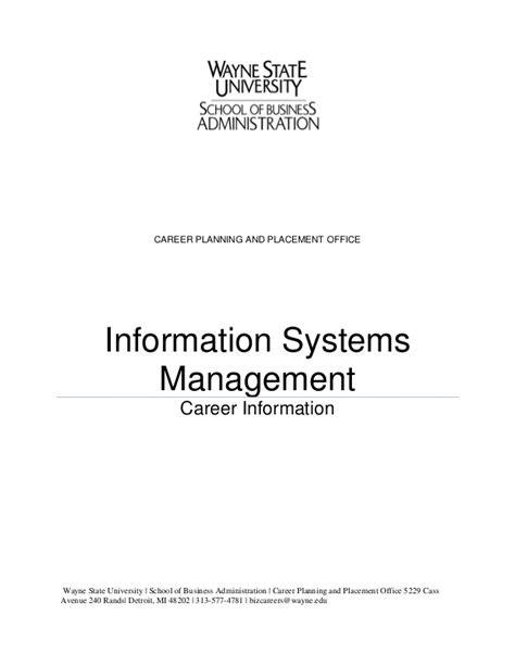 Mba Information Systems Management Careers by Information Systems Management Packet