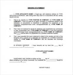 sworn statement template sworn statement template 12 free documents in pdf
