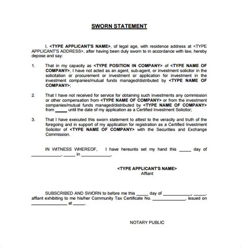 sle sworn statement template
