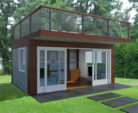 backyard shed office plans jorge fontan s garden office with roof deck decking