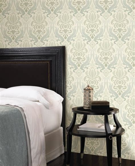 damask bedroom blue damask wallpaper contemporary bedroom other
