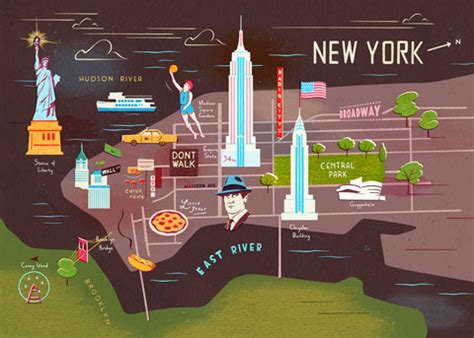 map of new york city landmarks amazing illustrated maps of major cities