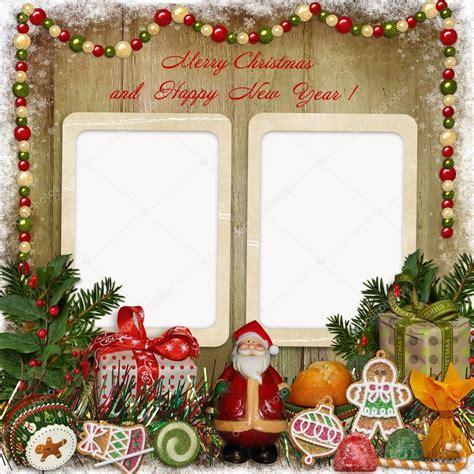 cornice natalizie cartolina d auguri di natale con cornice babbo natale
