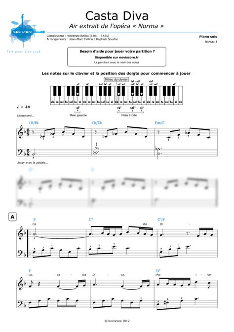casta spartito partition piano casta extrait de l op 233 ra norma