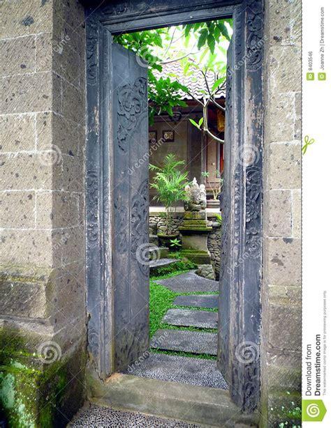 bali house  garden entrance royalty  stock image