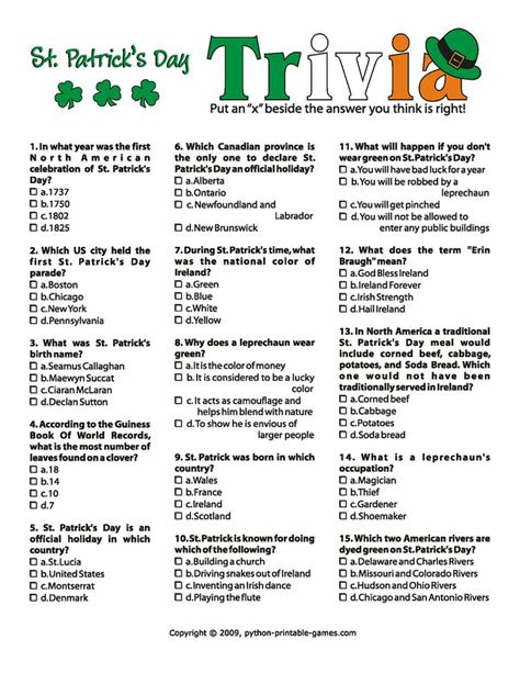 s day trivia printable st patty s day trivia st s day