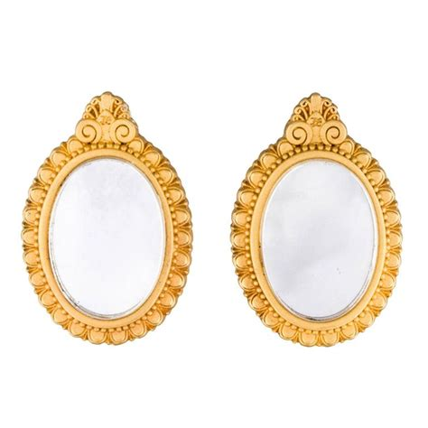 Karl Lagerfeld Gold karl lagerfeld 90s gold tone mirror earrings for sale at 1stdibs