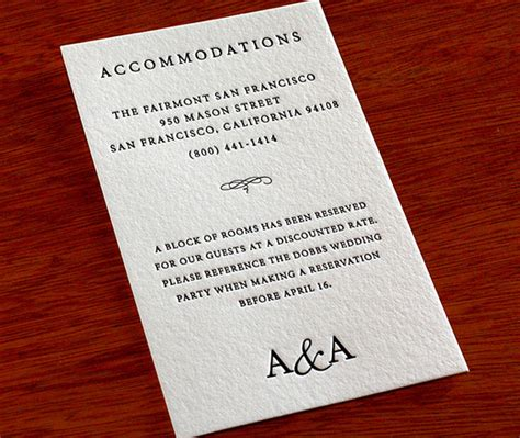 How To Word Your Accommodation Cards Letterpress Wedding Invitation Blog Hotel Accommodations For Wedding Guests Template