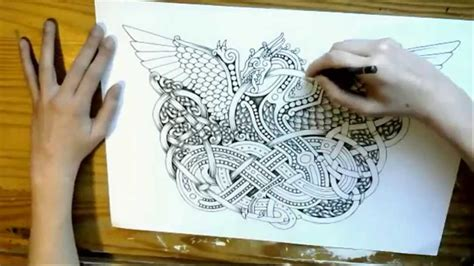 drawing timelapse celticgermanic knotwork dragon youtube