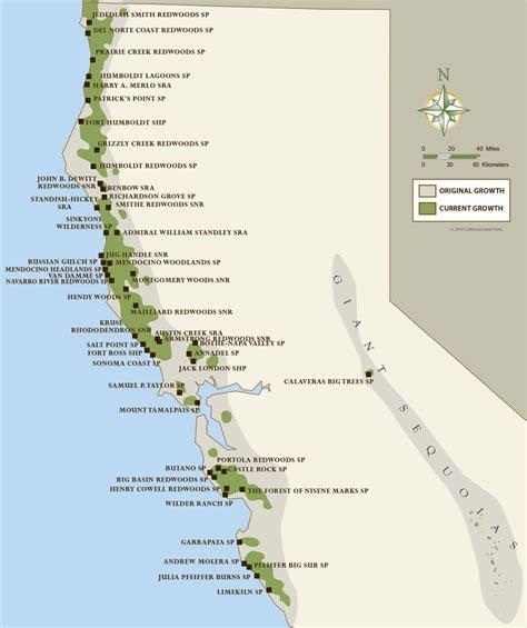california map redwoods california coastal redwood parks