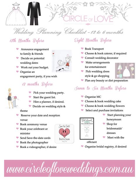 Wedding Checklist 3 Months by 1 Wedding Planning Checklist 12 To 6 Months Before