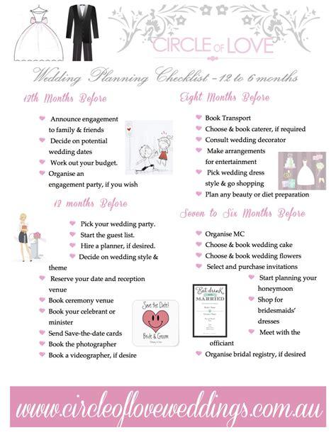 Wedding Checklist Timeline 6 Months by 1 Wedding Planning Checklist 12 To 6 Months Before