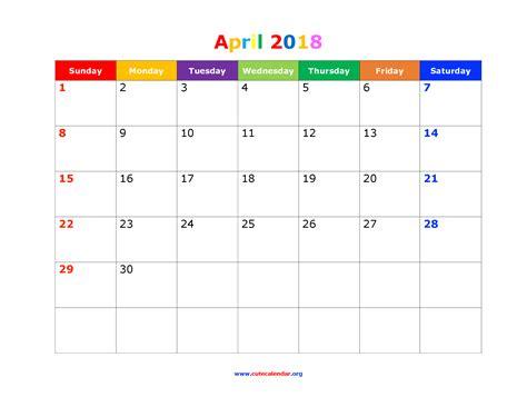 Calendar November 2017 Through May 2018 April 2018 Calendar