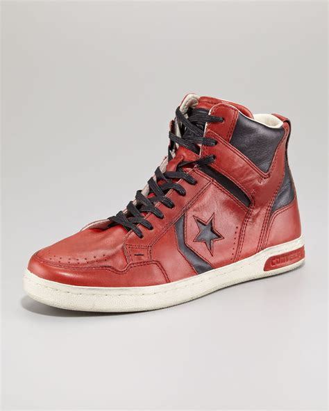 Jam Converse Leather Orange converse jv weapon leather hitop in for lyst