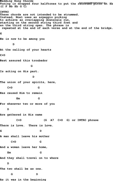 Wedding Song Guitar Chords by Paul And Song Wedding Song Lyrics And Chords