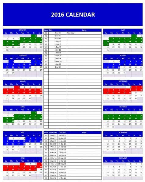 Kalender 2016 Excel 2016 Calendars Excel Templates
