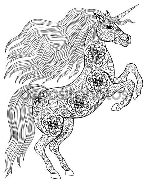 unicorn mandala coloring pages hand drawn magic unicorn for adult anti stress coloring