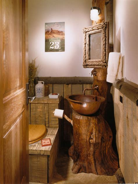 Cool Driftwood Mirror look Denver Rustic Powder Room
