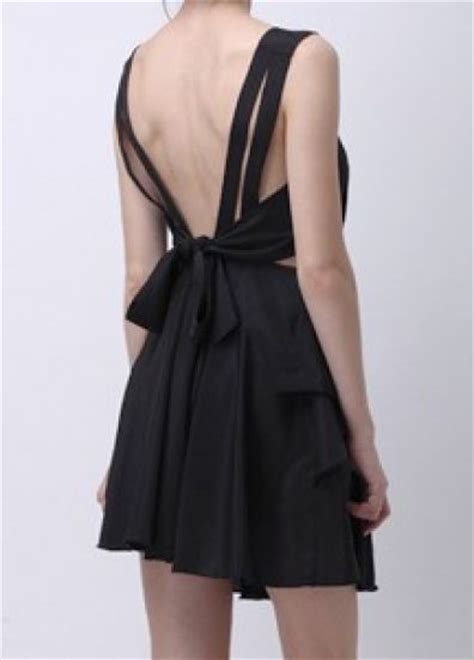 Back Bow Dress black cut out back bow pleated shift dress sheinside