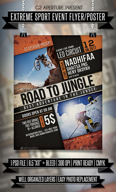 Extreme Sport Event Flyer Poster Flyers Fly With Free Sport Party Psd Flyer Template By Sports Event Flyer Template Free