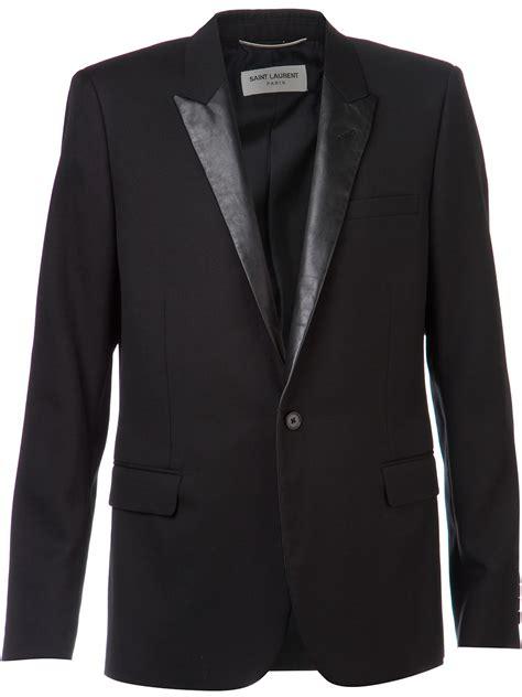 Vest Blazer Black lyst laurent leather lapel jacket in black for