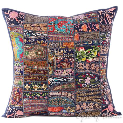 bohemian couch cover 24 quot big blue patchwork decorative couch pillow cushion