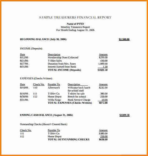 non profit treasurer s report sle 11 treasurer report template cashier resume