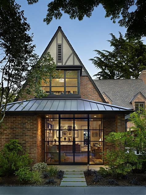 modern tudor style homes classic seattle lakefront house gets a bookish modern