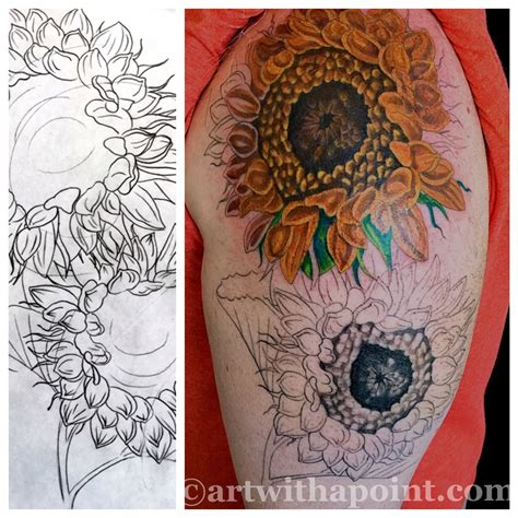 sunflower sleeve tattoo with a point 187 sunflower half sleeve custom