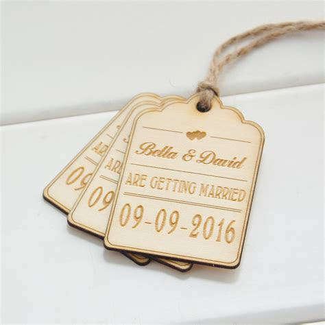 wedding tags save the date wood card 50 rustic wood favor tags