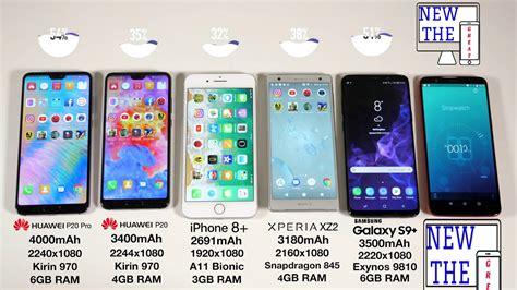 huawei p20 vs p20 pro vs iphone 8 plus vs s9 battery drain test