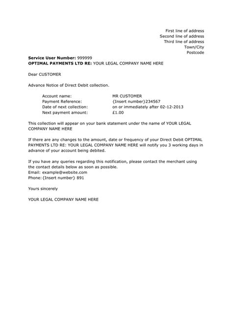 direct debit cancellation letter templates advance notice of direct debit collection sle in word
