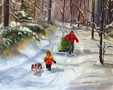 bringing home the christmas tree painting by carole powell