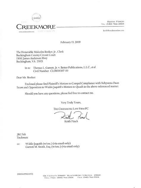 Arson Investigator Cover Letter by Subpoena Cover Letter