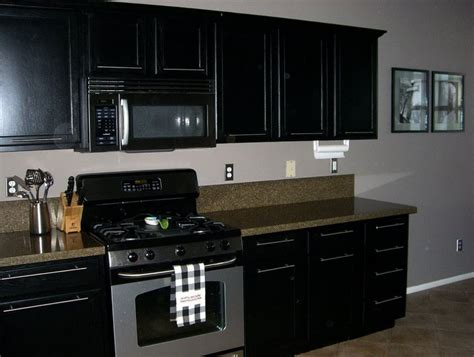 black kitchen cabinets with black appliances superb black