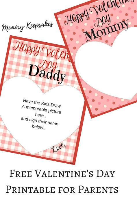 Printable Valentines Day Cards For Parents s day memory keepsake printable cards for