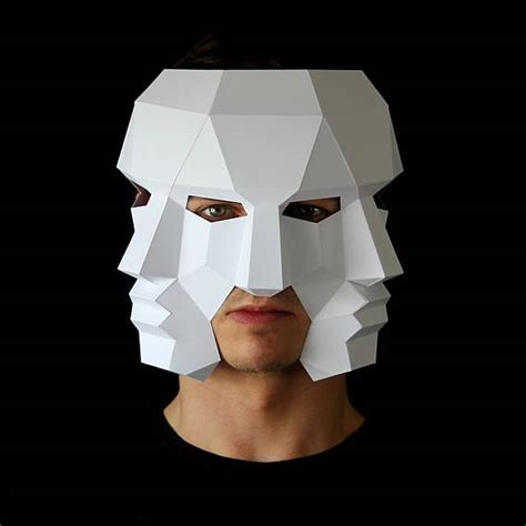 template mask papercraft three face mask make this 3d mask with this pdf download and