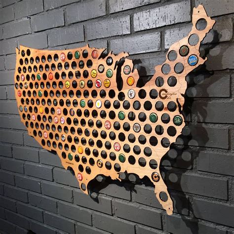 beer cap maps wooden hole filled maps allowing people