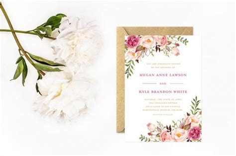 gold and pink flower cards template boho wedding invitations painted flower invitations