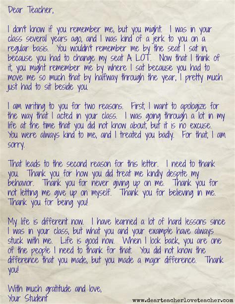 dear teacher daily letter student