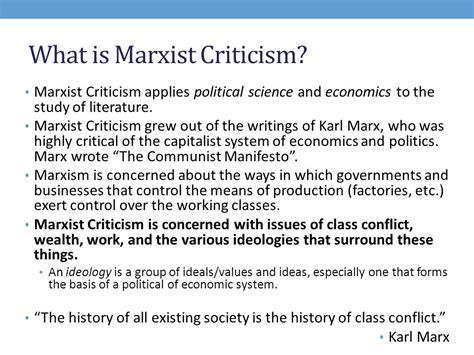 Marxist Criticism Essay by Marx Essay Questions