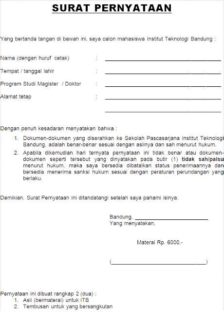 Contoh Surat Lamaran Dan Pernyataan S2 Ristekdikti by Contoh Surat Pernyataan Keaslian Dokumen