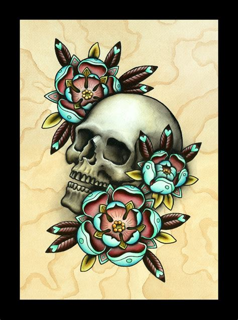 tattoo flash of skulls skull roses tattoo art print rose tattoo designs