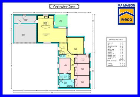 plan maison plain pied en l 4 chambres constructeurvendee 187 plans de maisons