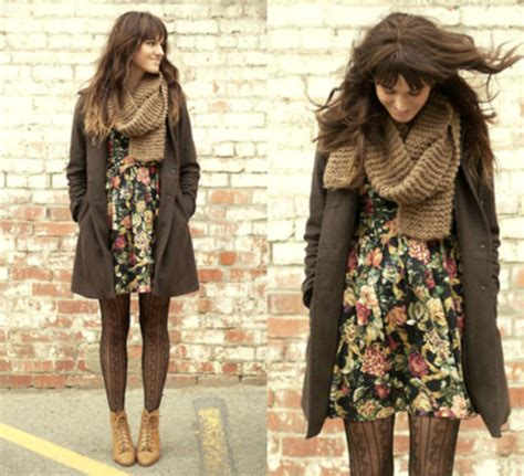 8 Ways To Wear Florals In Winter by Shoes Winter Tights Coat Dress