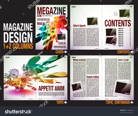magazine layout structure magazine layout design template cover 6 stock vector